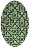 rug #206581   oval yellow damask rug
