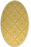 rug #206665   oval yellow damask rug
