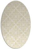 rug #206669   oval yellow damask rug