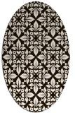 rug #206673 | oval brown damask rug