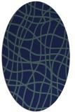 rug #218729   oval blue check rug