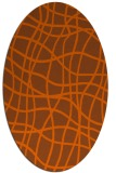 rug #218961 | oval red-orange check rug