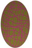 rug #219025 | oval light-green check rug