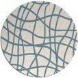 rug #219425 | round blue-green check rug