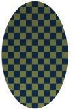 rug #220493   oval blue check rug