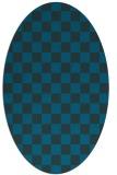 rug #220537 | oval blue check rug