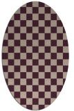 rug #220613   oval pink check rug