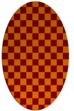 rug #220645 | oval red-orange check rug