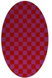 rug #220709 | oval red check rug