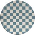 rug #221185 | round blue-green check rug