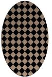 rug #234549 | oval beige check rug