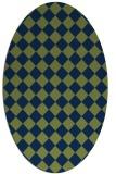 rug #234573 | oval blue check rug