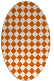 rug #234805 | oval red-orange check rug