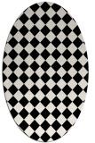 rug #234809 | oval white check rug