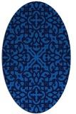 rug #254065 | oval blue damask rug