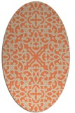 rug #254093 | oval orange damask rug