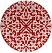 rug #254841 | round red damask rug