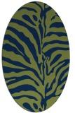 rug #268013   oval blue stripes rug
