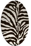 rug #268273   oval brown stripes rug