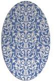 rug #282097 | oval blue damask rug