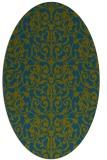 rug #282117 | oval green damask rug