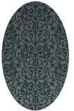 rug #282185 | oval green damask rug