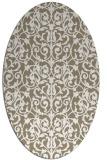 rug #282197 | oval white damask rug