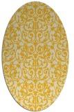 rug #282345 | oval yellow damask rug