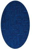rug #292785   oval blue retro rug