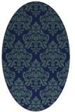 rug #296169 | oval blue damask rug