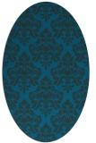 rug #296217 | oval blue damask rug