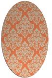 rug #296333 | oval beige damask rug