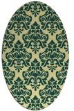 rug #296341   oval yellow damask rug