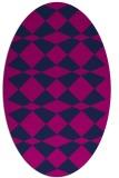rug #297925 | oval blue check rug