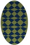 rug #297933 | oval blue check rug