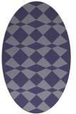 rug #297985 | oval blue-violet check rug