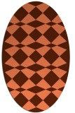 rug #298097 | oval red-orange check rug