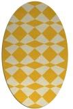 rug #298185 | oval yellow check rug