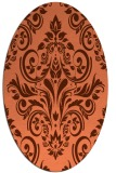 rug #306897 | oval orange damask rug