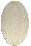rug #306989 | oval yellow damask rug