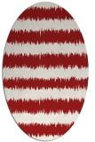 rug #324545 | oval red stripes rug