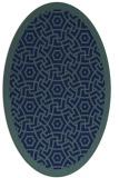 rug #363049 | oval blue borders rug