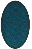 rug #363097 | oval blue borders rug