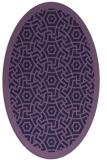 rug #363113   oval blue-violet borders rug