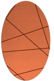 rug #373777 | oval orange stripes rug