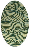 rug #398421 | oval blue-green abstract rug