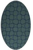 rug #400009 | oval blue check rug