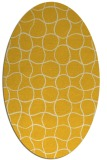 rug #400265 | oval yellow check rug