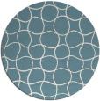 rug #400705 | round blue-green check rug