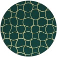 rug #400885 | round blue-green check rug